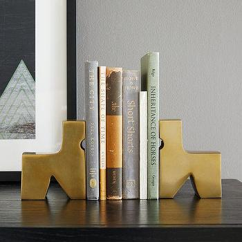 Decor/Accessories - Geo Brass Bookends - Horse | West Elm - brass horse bookends, horse shaped bookends, modern horse bookends,