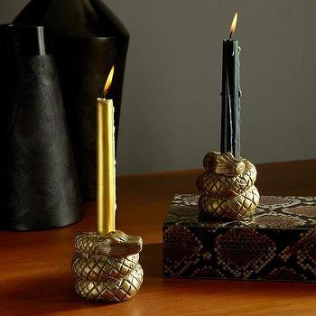 Decor/Accessories - Snake Candleholder | West Elm - snake candleholder, snake taper holder, gold snake candleholder,