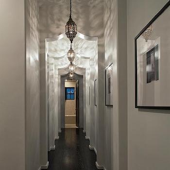 Alys Beach - entrances/foyers - moroccan arch, moroccan doorway, mediterranean hall, mediterranean hallway, hallway lanterns, moroccan lanterns, moroccan hall lanterns, pierced moroccan lantern, moroccan pierced lantern, hallway photo wall,