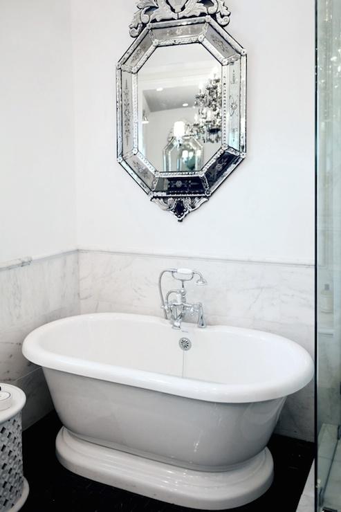 Lukas Machnik Design - bathrooms - glam bathrooms, glamorous bathrooms, marble wainscoting, marble bathroom wainscoting, bathroom wainscoting, bathroom marble wainscoting, marble pencil rail, white and grey bathrooms, freestanding bathtub, venetian mirror, bathroom venetian mirror, venetian bathroom mirror, mirror over tub, mirror above tub, over the tub mirror, above the tub mirror, seamless glass shower, glam bathrooms, glamorous bathrooms,