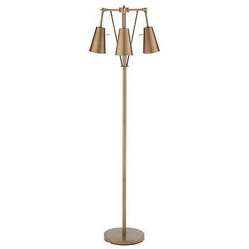 Lighting - Periscope Floor Lamp | The Land of Nod - bronze floor lamp, bronze three light floor lamp, vintage bronze floor lamp,