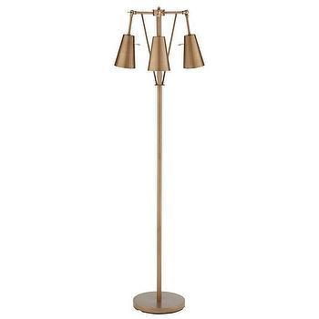Lighting - Periscope Floor Lamp | The Land of Nod - bronze floor lamp, bronze three light floor lamp, vintage bronze floor lamp,