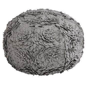 Seating - Petal Pouf | The Land of Nod - gray petal floor pouf, petal floor pouf, gray floral pouf,