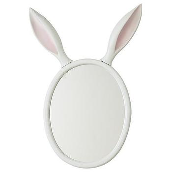 Mirrors - Good Hare Day Wall Mirror in Mirrors | The Land of Nod - bunny ear wall mirror, bunny shaped mirror, rabbit ear wall mirror,
