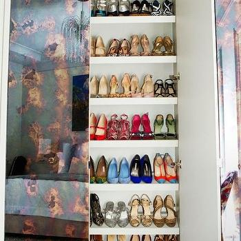 Vogue - closets - shoe shelves, slanted shoe shelves, shelves for shoes, slanted shelves for shoes, mirrored closets, mirrored closet doors, mirrored closet,