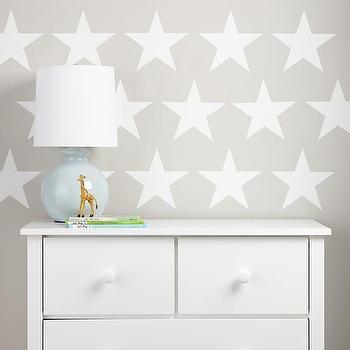 Art/Wall Decor - Star Bright Wall Decal (White) | The Land of Nod - star shaped wall decal, white star wall decal, star wall decal,