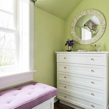 Lindsey Coral Harper - girl's rooms - purple and green girls room, purple and green girls bedroom, green walls, kids room, kids window seat, window seat kids room, built in window seat, window seat kids room, window seat storage, floral valance, floral roman shade, 6 drawer dresser, round capiz mirror,