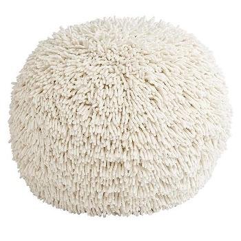 Seating - Shaggy Pouf | The Land of Nod - shag floor pouf, shaggy floor pouf, chenille shag floor pouf,