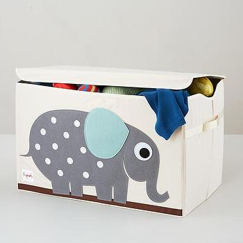 Decor/Accessories - Elephant Toy Box | The Land of Nod - elephant toy box, elephant toy storage, elephant toy crate,