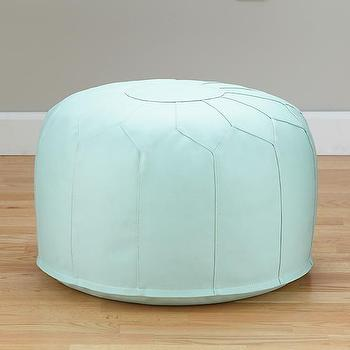 Seating - Faux-Leather Seats Come Standard (Green) | The Land of Nod - blue moroccan pouf, faux leather moroccan pouf, moroccan style pouf,