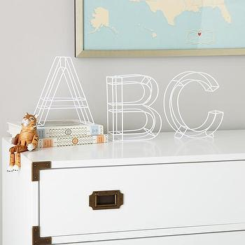 Art/Wall Decor - Framework Metal Wall Letters (White) | The Land of Nod - white wall letters, white metal wall letters, white framework wall letters,