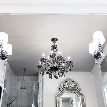 Lukas Machnik Design - bathrooms - glam bathrooms, glamorous bathrooms, venetian mirror, bathroom venetian mirror, venetian bathroom mirror, seamless glass shower, glam bathrooms, glamorous bathrooms, gray chandelier, smoky gray chandelier, gray crystal chandelier,