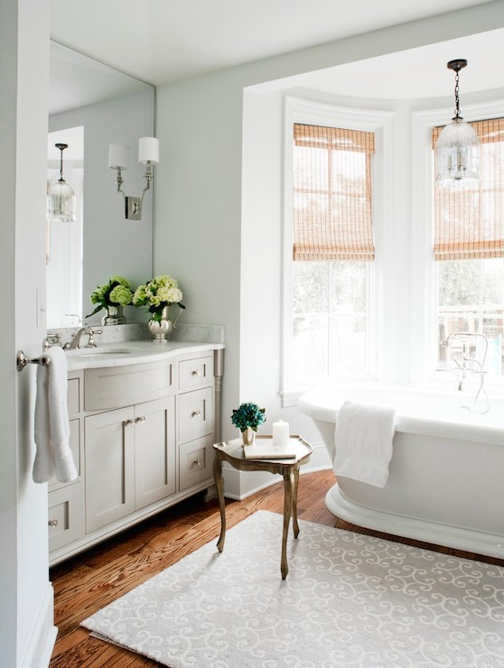 Bay Window Bathtub Transitional Bathroom Laura Casey