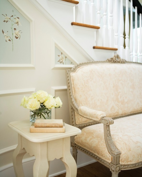 Laura Casey Interiors - entrances/foyers - blush pink settee, blush pink damask settee, french settee, gray french settee, foyer seating, foyer settee, cabriole leg side table, ivory side table, ivory roses, wainscoting paneled stairs, wainscoting stairs, stairway molding trim, stairway molding ideas, handpainted wainscoting panels, white spindles, turned white spindles, pink settee, pink french settee, pink and gray settee, pink damask settee, pink damask french settee, entry settee, wainscoted wall, wainscoted staircase, wall, staircase wall, staircase wall ideas, hand painted walls, french foyer, french entry, french entrance,