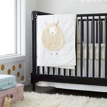 Bedding - Sheepish: Sheep Print Baby Bedding | The Land of Nod - sheep print baby bedding, sheep babies quilt, sheep patterned babies bedding, sheep crib quilt, sheep crib bedding,