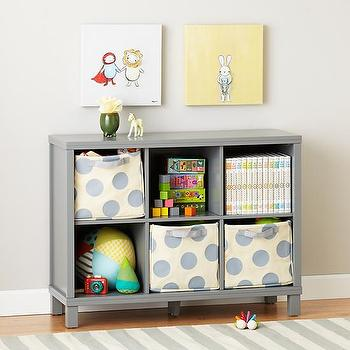 Storage Furniture - Six Cube Wide Bookcase (Grey) | The Land of Nod - gray kids bookcase, low kids bookcase, gray cubby bookcase, gray cubby bookshelves, wide gray bookcase,
