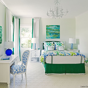Laura Casey Interiors - girl's rooms - curtains with tape trim, white drapes with green trim, emerald green trimmed drapes, green and blue abstract art, emerald green and teal art, green and blue girls room, emerald green bed skirt, tape trimmed bedskirt, emerald green hotel bedding, green hotel bedding, bedroom desk, beadboard desk, white beadboard desk, french oval back chair, blue floral french chair, french desk chair, round blue table lamp, emerald green memo board, green memo board, upholstered green memo board, corner windows, corner bedroom window, matching nightstand, white nightstand, blue table lamp, sky blue table lamp, emerald green bedskirt, blue and green floral duvet, blue and green floral bedding, cream patterned carpet, patterned carpeting, pale green walls, light green walls, pagoda chandelier, white pagoda chandelier, white and green curtains, white and green drapes, green bedskirt, kids beadboard desk, green ribbon pin board, green bed, emerald green bed, emerald green headboard,