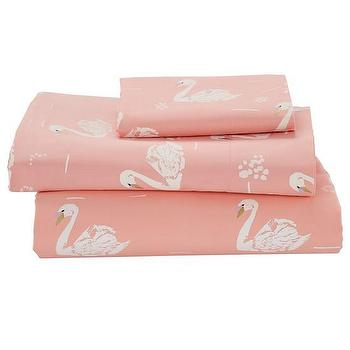 Bedding - Swan Soiree Baby Bedding | The Land of Nod - swan print crib bedding, pink swan crib bedding, pink swan crib sheets,