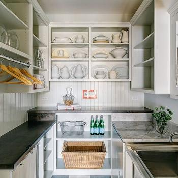 Sandy Muraca Design - kitchens - pantry ideas, cottage pantry, cottage pantry ideas, walk in pantry, walk in pantry ideas, u shaped pantry, kitchen pantry, kitchen pantry ideas, u shaped kitchen pantry, open display cabinets, display shelves, pantry shelves, kitchen pantry shelves, beadboard trim, beadboard backsplash, pantry beadboard, kitchen pantry beadboard, soapstone countertops, white quartzite countertops, mixed countertops, over the counter towel rack, towel rack, towel rack ideas, towel rack over sink, stainless steel sink, kitchen towel dryer rack,