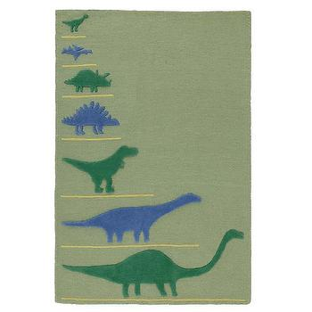 Rugs - Prehistoric Proportions Dinosaur Rug | The Land of Nod - green and blue dino rug, dino print rug, dinosaur rug, green and blue dinosaur rug,