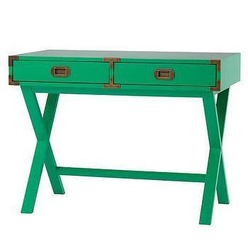 Storage Furniture - Campaign Desk (Green) | The Land of Nod - green campaign desk, kids campaign desk, kelly green campaign desk,