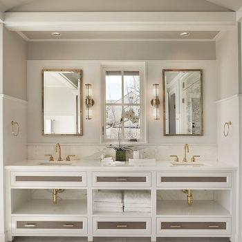 Michael Greenberg and Associates - bathrooms - bathroom alcove, arched alcove, arched bathroom alcove, vanity alcove, vanity alcove ideas, arched vanity alcove, washstand alcove, arched washstand alcove, barrel ceiling, bathroom barrel ceiling, barrel bathroom ceiling, gray ceiling, gray barrel ceiling, marble wainscoting, marble bathroom wainscoting, rivet mirror, rivet medicine cabinet, brass rivet mirror, brass rivet medicine cabinet, glass and brass sconces, white double vanity, white double washstand, double vanity ideas, double washstand ideas, custom washstand, custom vanity, gray drawers, gray drawer fronts, his and her sinks, gold faucets, square sinks, white marble countertop, white marble backsplash, gold gooseneck faucets, white and grey bathrooms,