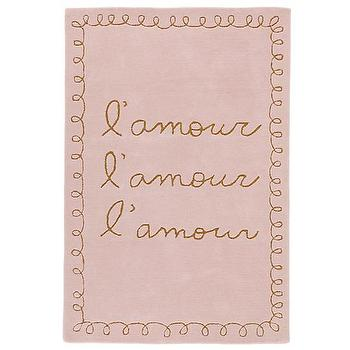 Rugs - Love, Love, Love Kids Area Rug | The Land of Nod - pink and gold script rug, pink script rug, pink lamour rug, lamour script rug,
