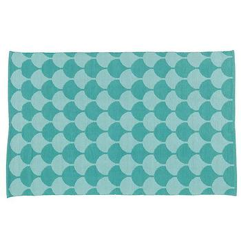 Rugs - Half Shell Scallop Pattern Rug (Teal) | The Land of Nod - geometric teal rug, teal and turquoise rug, tonal teal rug, teal scale print rug,