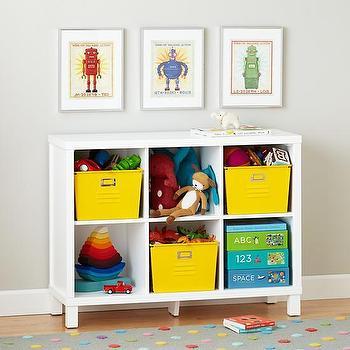 Storage Furniture - Six Cube Wide Bookcase (White) | The Land of Nod - white cubby bookcase, cubby bookshelves, kids cubby shelves, low white kids shelves, low white kids bookcase, white kids bookcase,