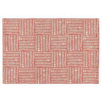 Rugs - Tally Kids Area Rug (Pink) | The Land of Nod - pink and white rug, pink weave print rug, pink basketweave print rug,