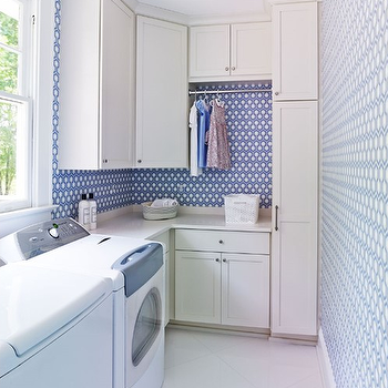 Hicks Hexagon Wallpaper, Transitional, laundry room, Laura Casey Interiors