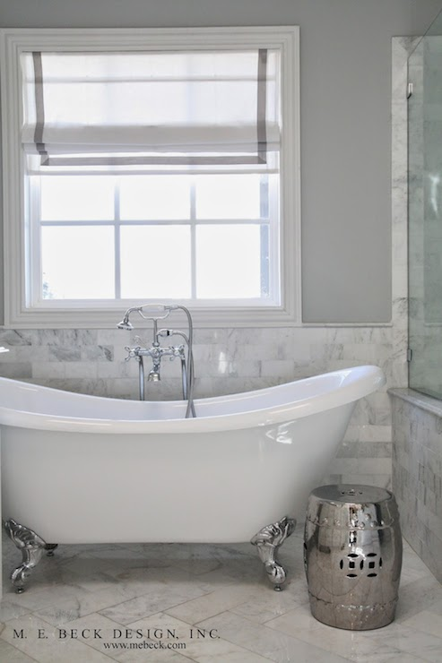 Marble Wainscoting Transitional Bathroom M E Beck