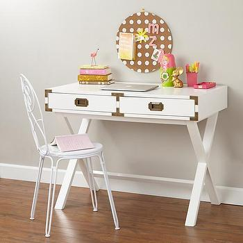 Storage Furniture - Campaign Desk (White) | The Land of Nod - white campaign desk, kids campaign desk, x base campaign desk,