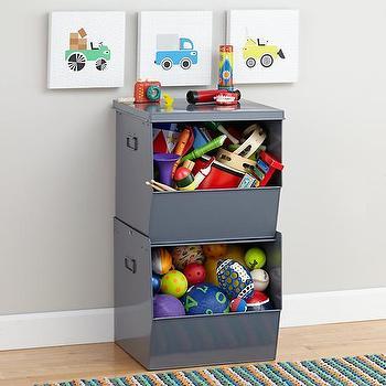 Storage Furniture - Stacking Metal Bins (Grey) | The Land of Nod - stacked metal bins, stacked gray storage bins, metal storage bins, stackable kids storage, stackable metal storage bins,