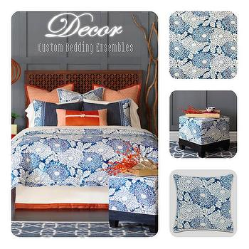 Transitional, Bedroom, Blue and White Bedding