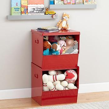 Storage Furniture - Stacking Metal Bins (Red) | The Land of Nod - red storage bins, stacked red metal bins, stackable red storage bins, stackable kids storage bins,
