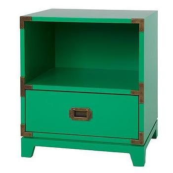 Storage Furniture - Campaign Nightstand (Kelly Green) | The Land of Nod - kelly green campaign nightstand, kids campaign nightstand, green campaign nightstand,