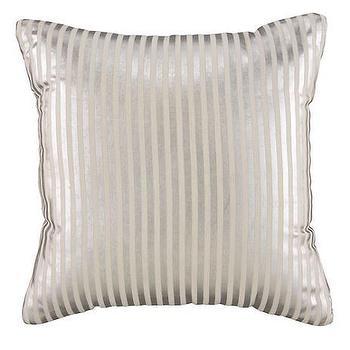Pillows - Metallic Pinstripe Throw Pillow (Silver) | The Land of Nod - silver striped pillow, silver pinstripe pillow, metallic silver striped pillow,