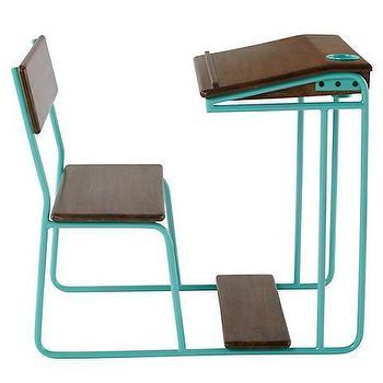 Tables - Modern Schoolhouse Desk (Aqua) | The Land of Nod - schoolhouse desk, modern schoolhouse desk, vintage style schoolhouse desk,