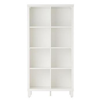 Storage Furniture - Eight Cube Tall Bookcase (White) | The Land of Nod - tall white bookcase, white cubby bookcase, white kids bookcase,