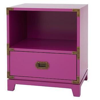 Storage Furniture - Campaign Nightstand (Fuchsia) | The Land of Nod - fuchsia nightstand, fuchsia campaign nightstand, kids campaign nightstand,
