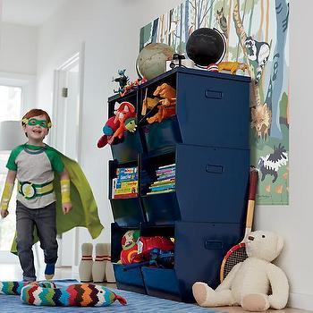 Storage Furniture - Stacking Metal Bins (Navy) | The Land of Nod - stacking metal bins, stackable kids storage, navy stackable storage bins, metal stacking storage bins, navy blue kids storage,