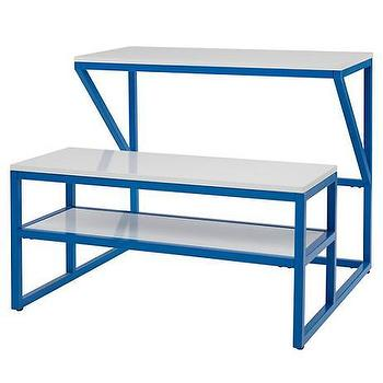 Tables - New School Desk With Bench (Cobalt/White) | The Land of Nod - blue schoolhouse desk, modern schoolhouse desk, blue kids desk, cobalt blue kids desk,