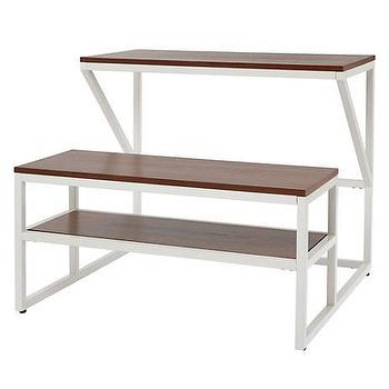 Tables - New School Desk With Bench (White/Walnut) | The Land of Nod - modern white kids desk, modern schoolhouse desk, white desk with walnut top,