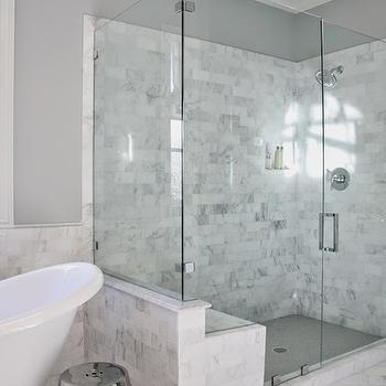 Gray Shower Tiles Contemporary Bathroom Erin Glennon Interiors