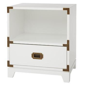 Storage Furniture - Campaign Nightstand (White) | The Land of Nod - white campaign nightstand, kids campaign nightstand, campaign nightstand,