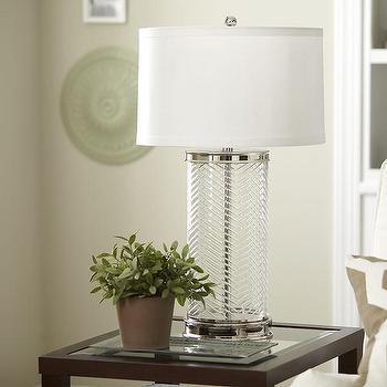 Lighting - Birch Lane Lincoln Glass Table Lamp | Birch Lane - herringbone glass lamp, etched herringbone lamp, etched glass lamp,