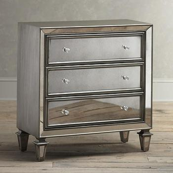 Storage Furniture - Birch Lane Madison Mirrored Chest | Birch Lane - mirrored chest, antiqued mirrored chest, three drawer mirrored chest,
