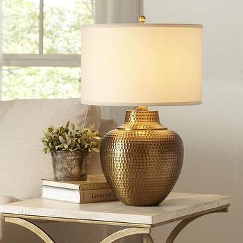 Lighting - Birch Lane Kaden Table Lamp | Birch Lane - hammered brass lamp, antique brass lamp, hammered metal table lamp,