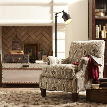 Seating - Birch Lane Clayton Chair | Birch Lane - ikat armchair, ikat paisley armchair, tan ikat armchair,